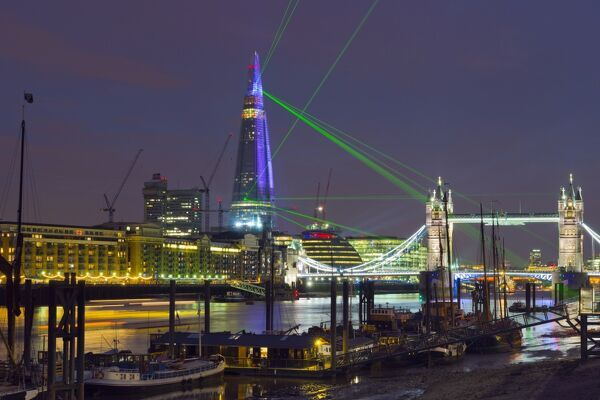UK, England, London, River Thames, The Shard and Tower Bridge