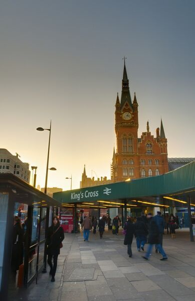 UK, England, London, Kings Cross Station and Midland Hotel above St. Pancras Station