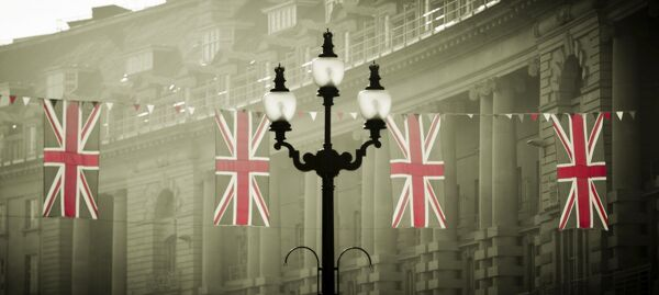 UK, England, London, Regent Street, Union Jack Flags marking the Royal Wedding of Prince William and Kate Middleton