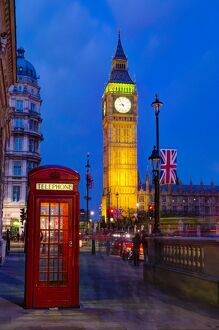 London, Houses of Parliament, Big Ben and Telephone Box