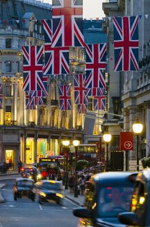London, Regent Street, Union Jack Flags marking the Royal Wedding of Prince William