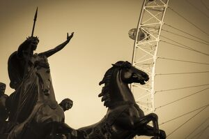 UK, England, London, Boudica (Boadicea) Statue and London Eye