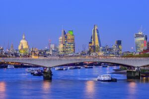 UK, England, London, City of London Skyline and Waterloo Bridge over River Thames