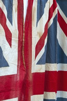 UK, England, London, The East End, Spitalfields Market, Battered Union Jack Flag