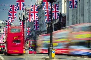 UK, England, London, Regent Street, Union Jack Flags marking the Royal Wedding of