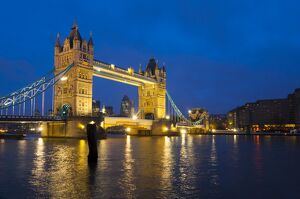 UK, England, London, Tower Bridge over River Thames and Swiss Re Building