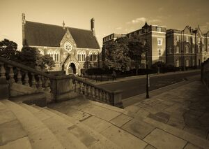 UK, England, Middlesex, Harrow-on-the-Hill, High Street and Harrow School Vaughan Library