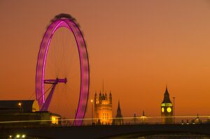 UK, London, Houses of Parliament, Big Ben and London Eye