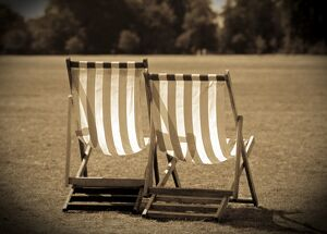 UK, London, Hyde Park deck chairs