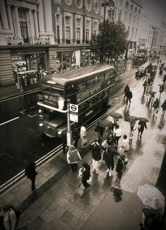 UK London Oxford Street Shoppers in the rain