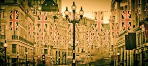 UK. London. Regent Street. Union Jack decorations for Royal Wedding