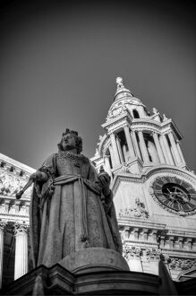 UK, London, St. Paul's Cathedral, Queen Anne Statue (not Queen Victoria)
