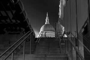 UK, London, St. Paul's Cathedral and Millennium Bridge over River Thames